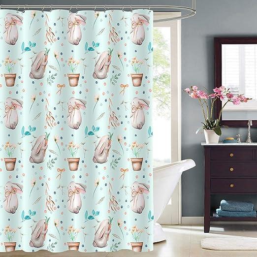 Spring Watercolor Flowers Easter Bunnies Waterproof Fabric Shower Curtain Hooks