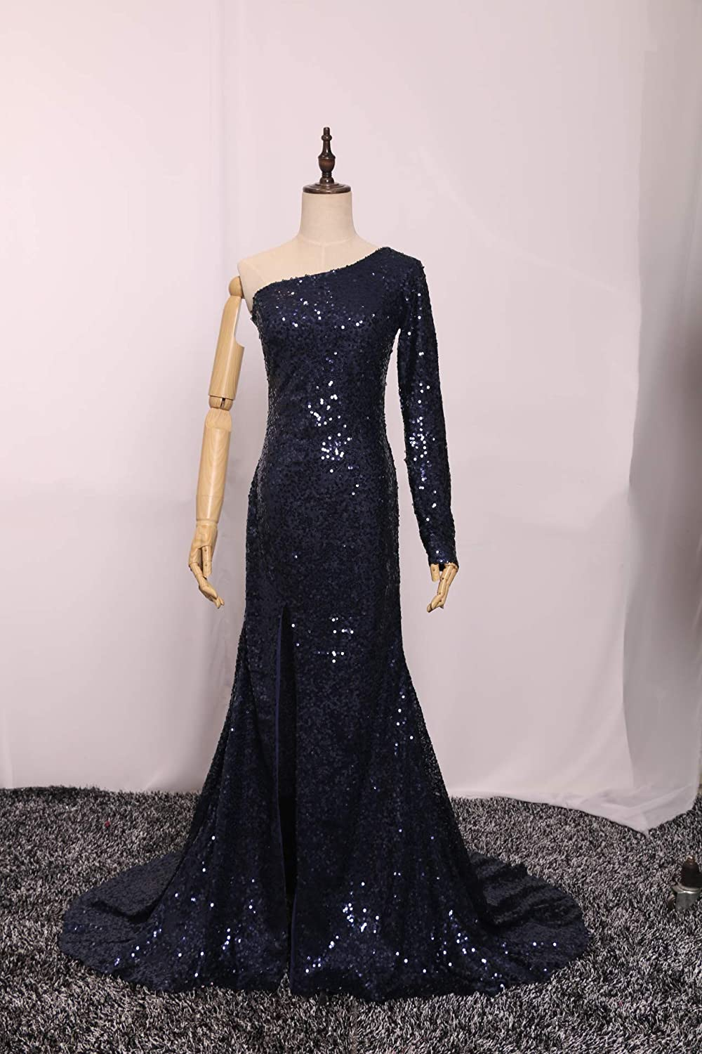 YMSHA Womens One Shoulder Sequins Evening Prom Dresses Long Formal Party Gowns PM11
