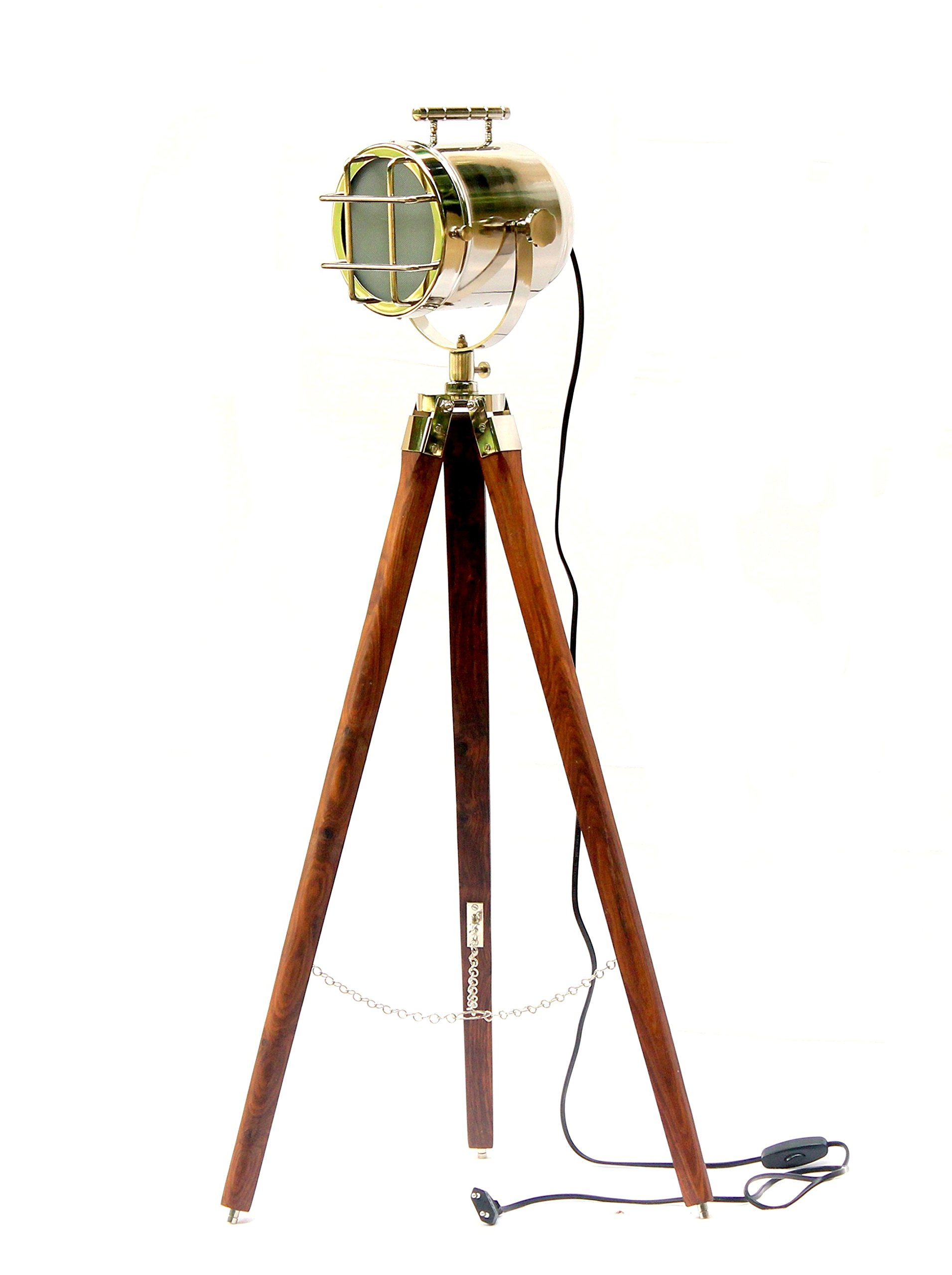Vintage Style Movie Spot Light Floor Lamp Silver Finish & Brown Tripod Royal Gifts With LED BULB (E 27)