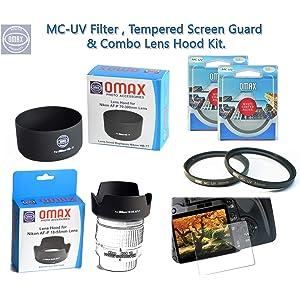 Omax Lens Hood   UV Filter Combo for Nikon D5300  Dzoom Kit  Combo 18 55   70 300 Af p Lens
