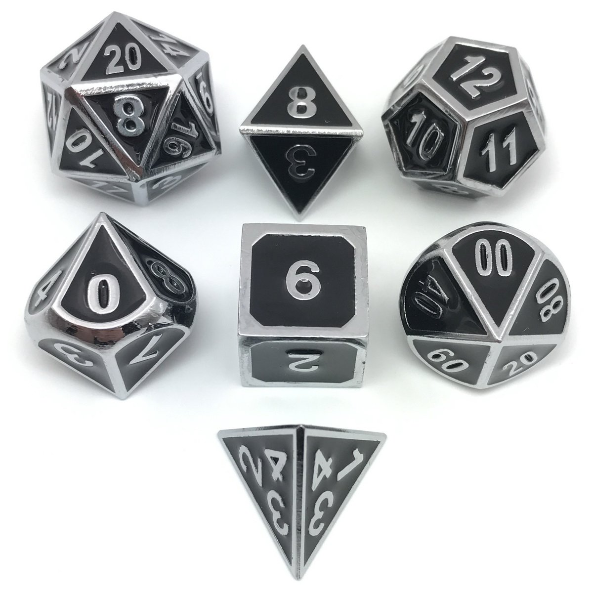 Set of Solid Metal Dice-Shiny Silver with Black Enamel-DnD Dice Set-Polyhedral Dice Set-RPG Dice Set