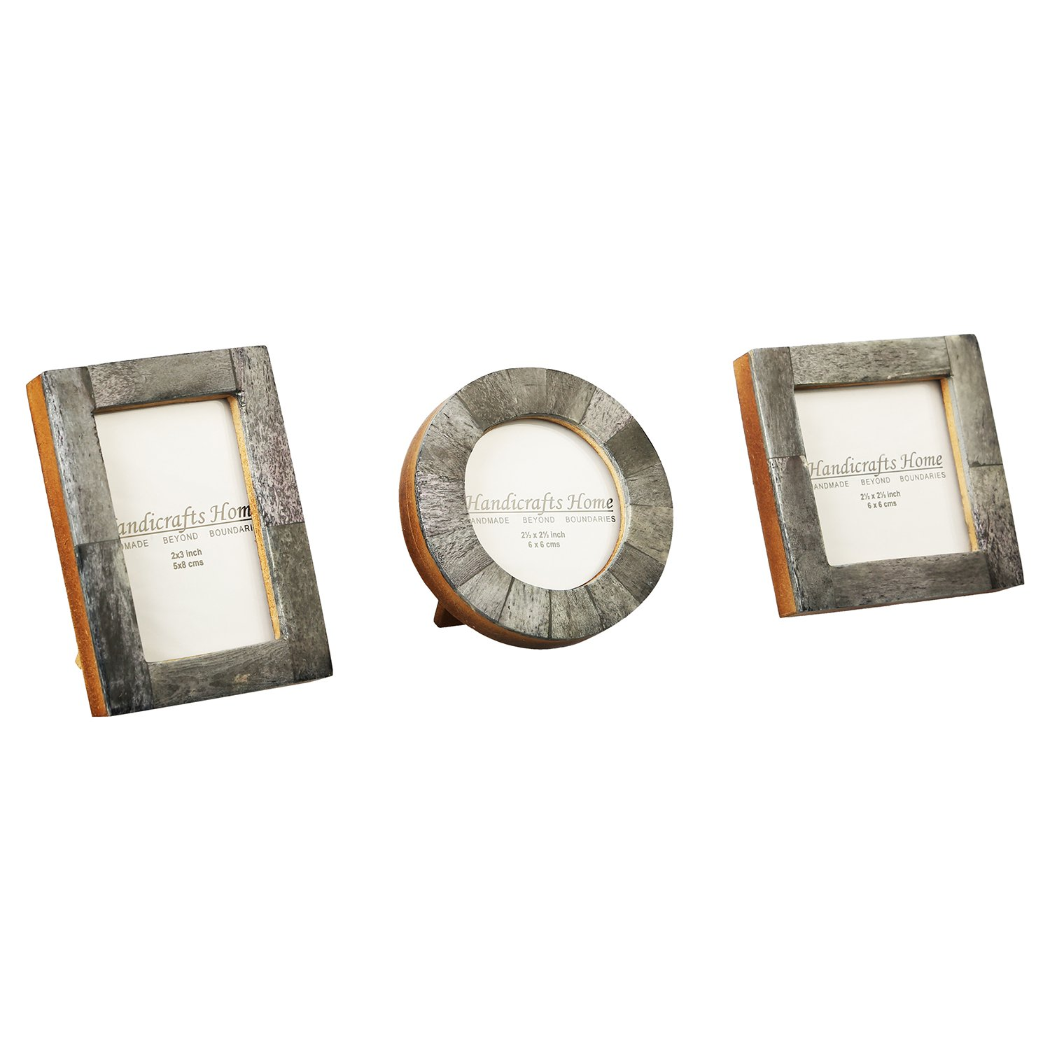 Baby Photo Frame Pure Bone Mother of Pearl Handmade Natural Picture Frames Set of 3 Pieces (Grey)