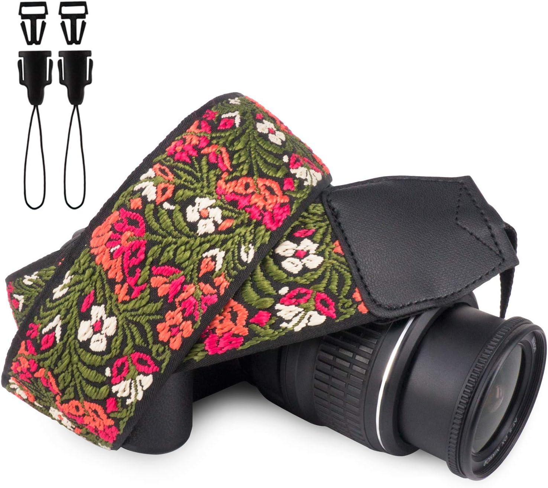 Wolven Vintage Jacquard Weave Camera Neck Shoulder Strap Belt Compatible with All DSLR/SLR/Digital Camera (DC)/Instant Camera/Polaroid etc (Green Floral)
