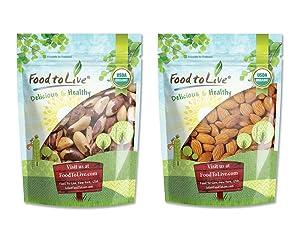 Organic Nuts Bundle with Organic Brazil Nuts, 1 Pound and Organic Almonds, 1 Pound — Raw, No Shell