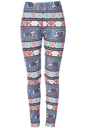 3218bbc35ad814 KMystic Women's Printed Brushed Leggings Regular and Plus Sizes (One Size,  Aqua Elephants)