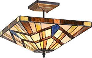 Capulina Tiffany Style Ceiling Light Fixtures, 2-Light Semi Flush Tiffany Ceiling Lights, 14.2 Inch Wide Antique Tiffany Style Ceiling Flush Mount, Classical Mission Style Stained Glass Ceiling Light