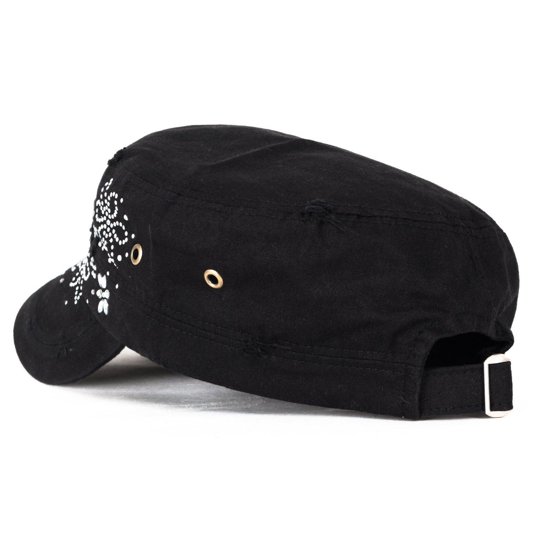 ililily Crystal Gemstone Stud Flower Vintage Cotton Military Army Hat Cadet Cap, Black: Amazon.es: Ropa y accesorios