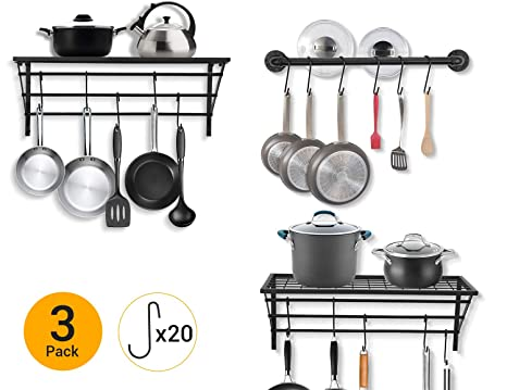 Hanging Pot Rack Pan Organizer Pot Hangers Pan Holder Pot Lid Organizer  Wall Mounted with 20 Hooks (1 Rail + 2 Racks)