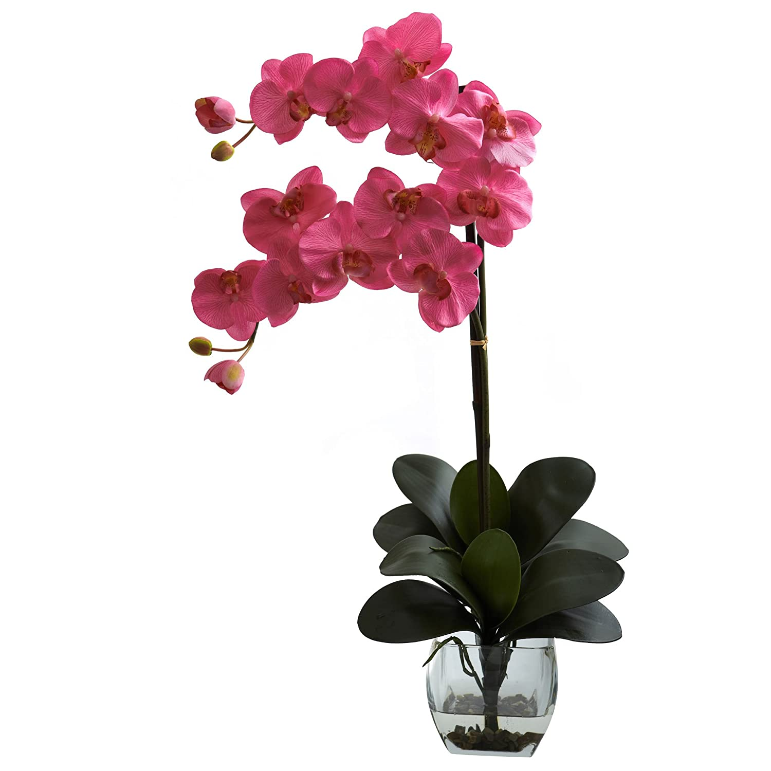 Nearly Natural 1323-DP Double Phalaenopsis Orchid with Vase Arrangement, Dark Pink