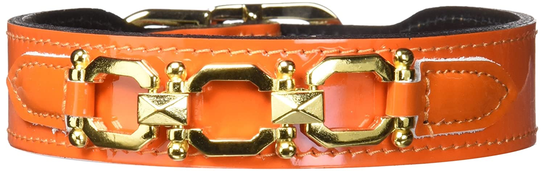 Hartman & pink 3382 Georgia Dog Collar, 14 to 16-Inch, orange Patent