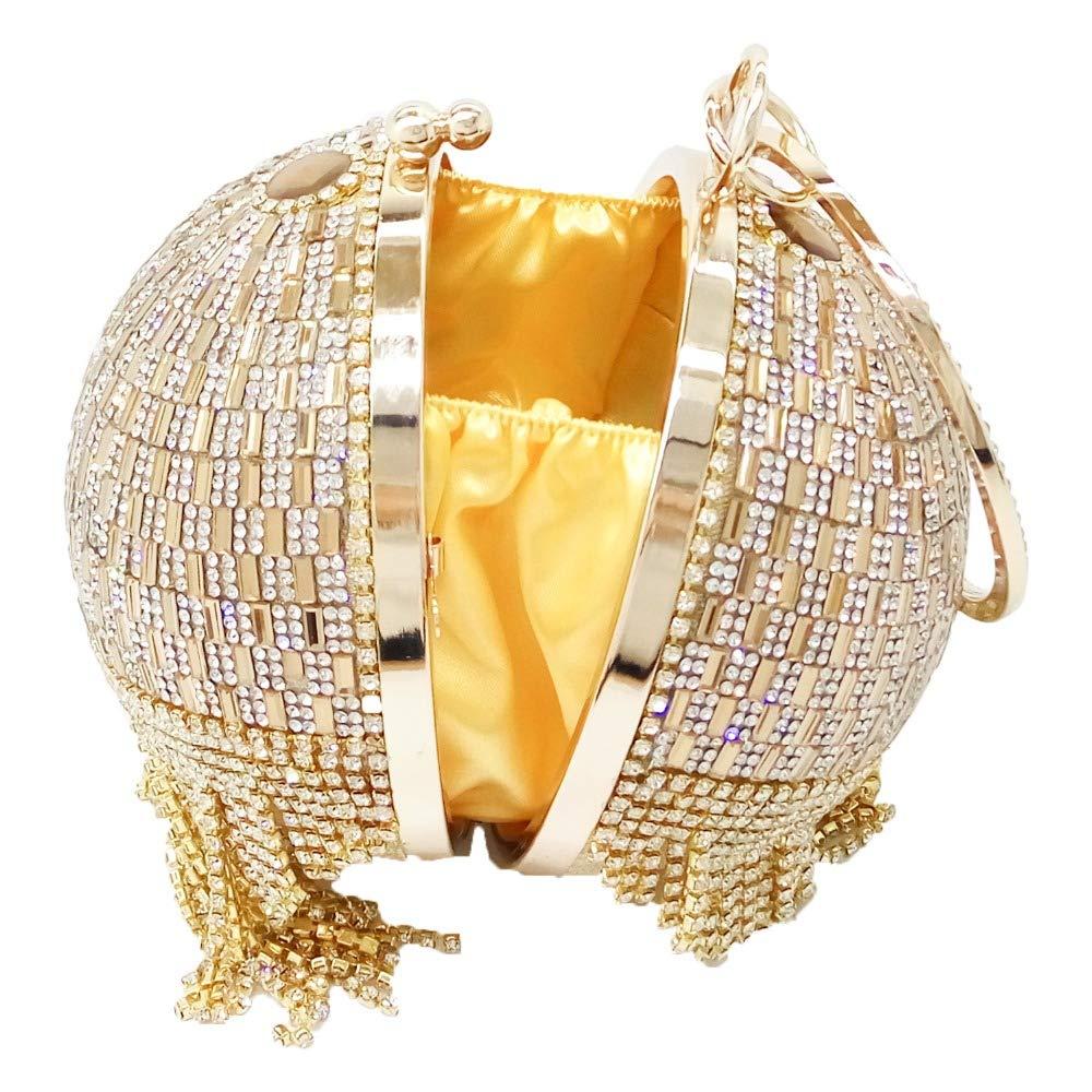 ASHUAIJIN ダイヤモンドゴールドタッセル女性クリスタルメタルクラッチイブニングバッグウェディングショルダーバッグ花嫁のクラッチバッグ  A B07R6HRG2S