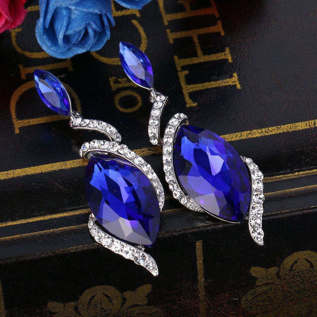 BriLove Womens Wedding Bridal Crystal Marquise Swirl Filigree Dangle Earrings