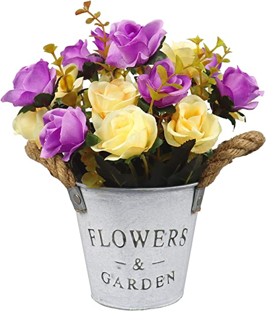 Amazon Com Uikkot Artificial Flowers With Pot Fake Rose Flowers In Metal Vase Silk Rose Arrangements Small Bonsai Decor Centerpieces House Office Table Purple Kitchen Dining