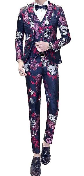 Amazon.com: Ouye de los hombres Slim Fit – Blazer floral ...