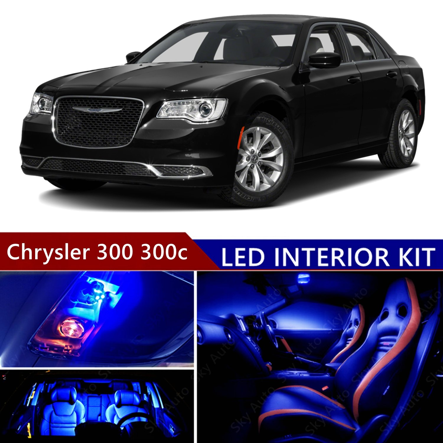 Amazon.com: Chrysler 300 300c 2011-2016 LED Premium Blue Light Interior  Package Kit ( 14 pcs ): Automotive