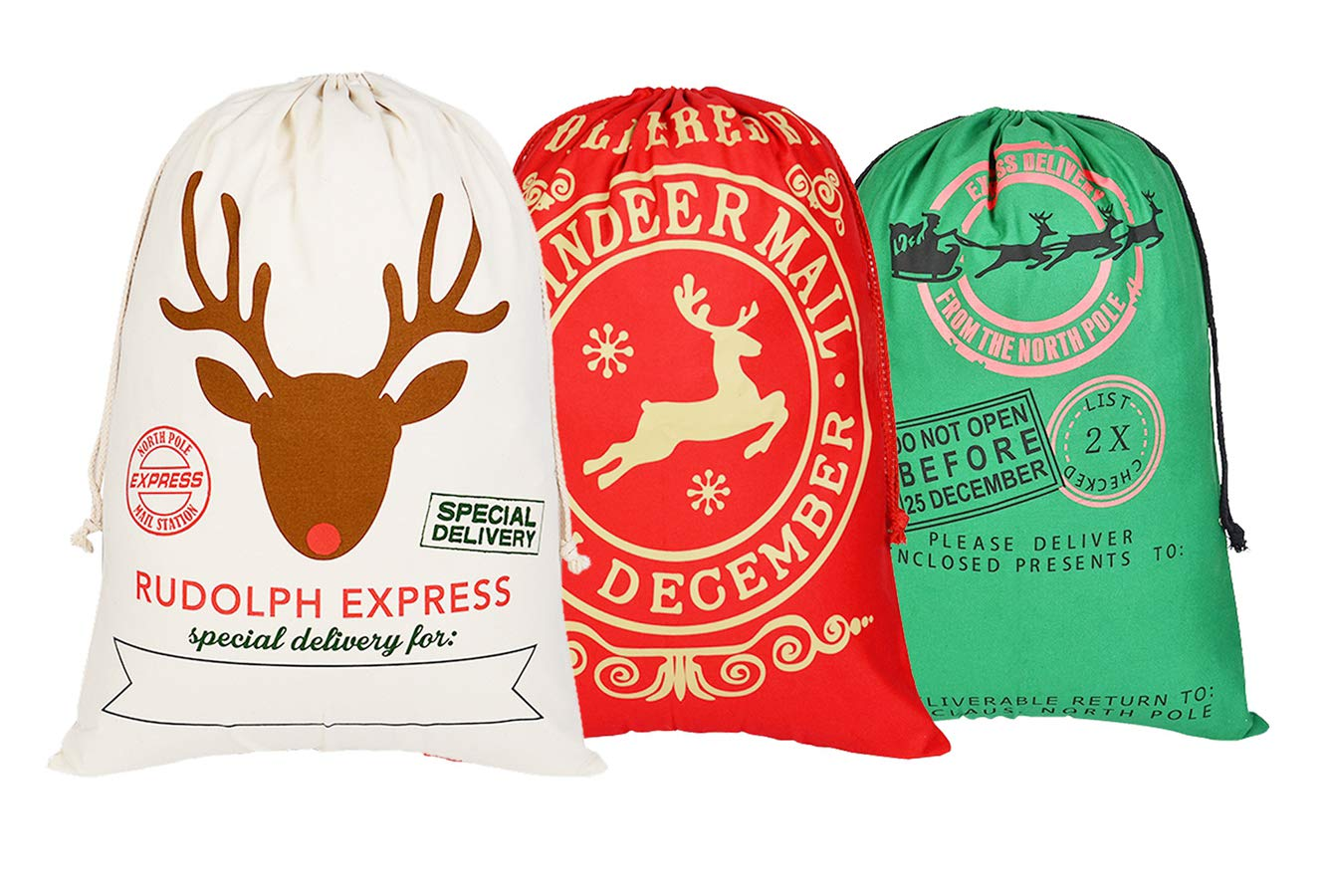 5cae5cd4 KEFAN 3 Pack Christmas Bag Santa Sack Canvas Bag for Gifts Santa Sack with  Drawstrings Extra