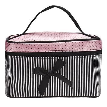 0b16de31dc47 Clearance! Cosmetic Bag, Stripe Bowknot Portable Large Travel Toiletry Bag  Makeup Case Organizer...
