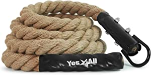 Yes4All Gym Climbing Rope for Fitness & Strength Training, Crossfit & Home Workouts, 1.5-inch Diameter – Length Available 10, 15, 20ft