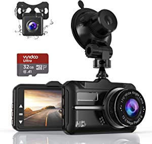 Dash Cam, ZIAMRE Front and Rear Car Camera with FHD 1080P 3 Inch LCD Screen, 32G SD Card Included, Equipped with 170°Wide Angle, Night Vision, G-Sensor, Parking Monitor, Loop Recording