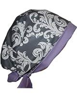 Scrub Hat Chef Cap Flirty Pixie Grey White Damask Lilac Purple