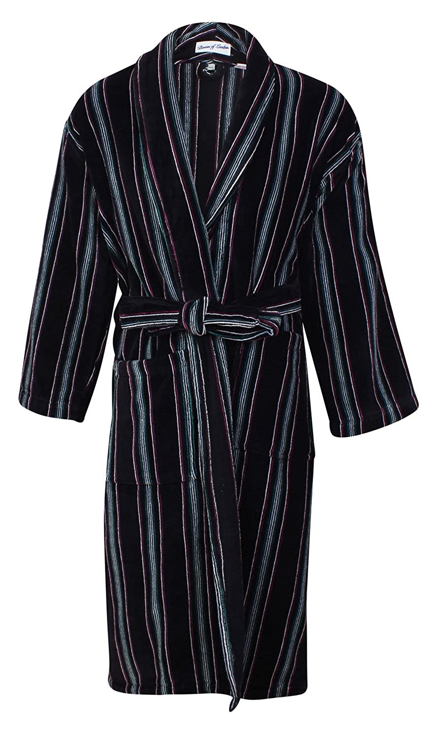 Bown of London Men's Luxury Velour Dressing Gown, Brixham, Black with Fine Stripes