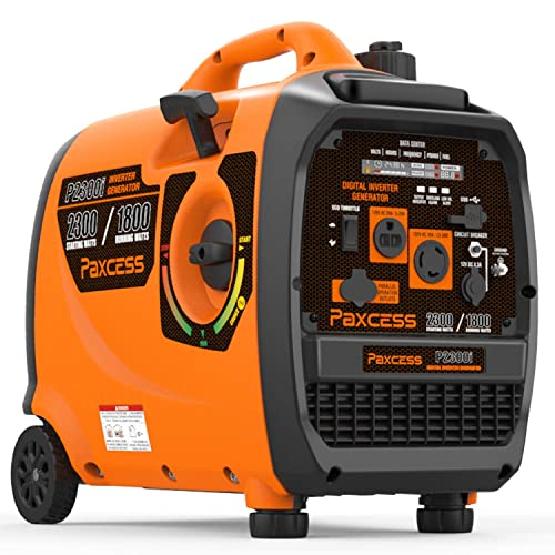 PAXCESS Super Quiet 2300 Watts Portable Inverter Generator Gas Powered with Wheels and Handle LCD Display Screen Eco-Mode Parallel Ready CARB Complaint, 2300W