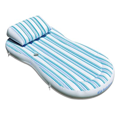 "80"" Inflatable White and Blue Striped Swimming Pool Pillow Top Mattress Raft: Toys & Games"