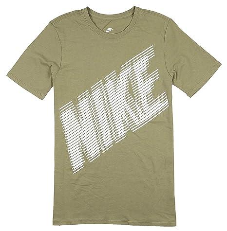 aee75847e Amazon.com: Nike Men's Block Logo T-Shirt Large Khaki White: Sports ...