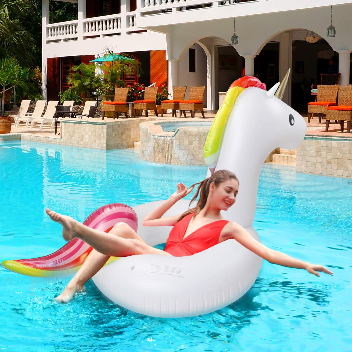 Keenstone Pool Floats Inflatable Unicorn Tube, Pool Float, Fun Beach Floaties, Swim Party Toys, Summer Pool Outdoor Pool Toys Float Raft Lounge for Adults & Kids