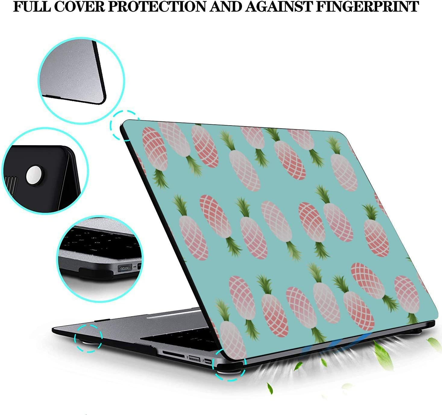 Mac Cases Summer Retro Sweet Fruit Pineapple Plastic Hard Shell Compatible Mac Air 11 Pro 13 15 MacBook Case 12 Inch Protection for MacBook 2016-2019 Version