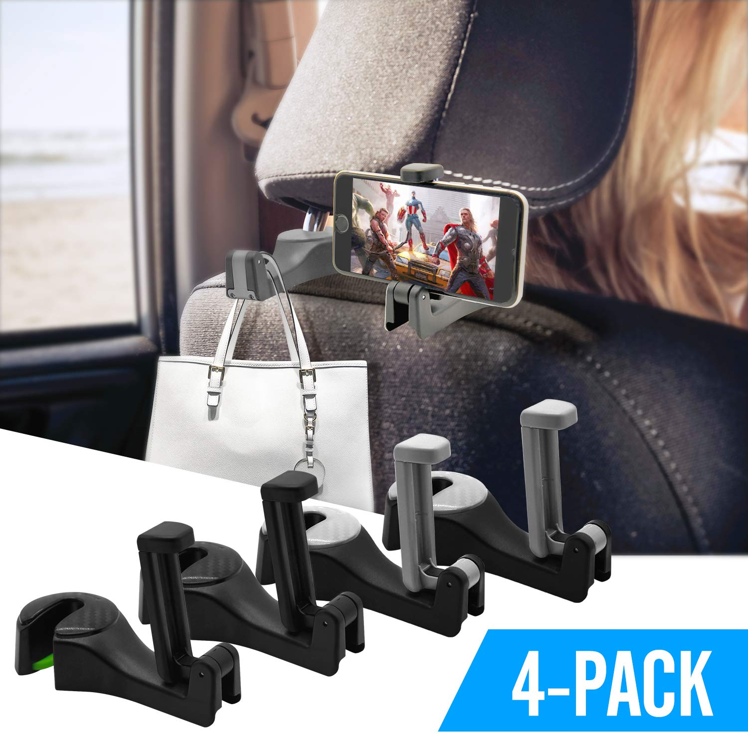4 Pack Car Headrest Hooks, Rorchio 2 in 1 Universal Car Headrest Hangers Vehicle Back Seat Hidden Headrest Phone Holder for hanging bags, purse, toys and etc.