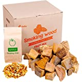 Zorestar Apple Wood Chunks - 10-12lb of Smoking Wood for Grilling and BBQ + 1pc of Apple Chips for Smokers - 100% Natural Coo