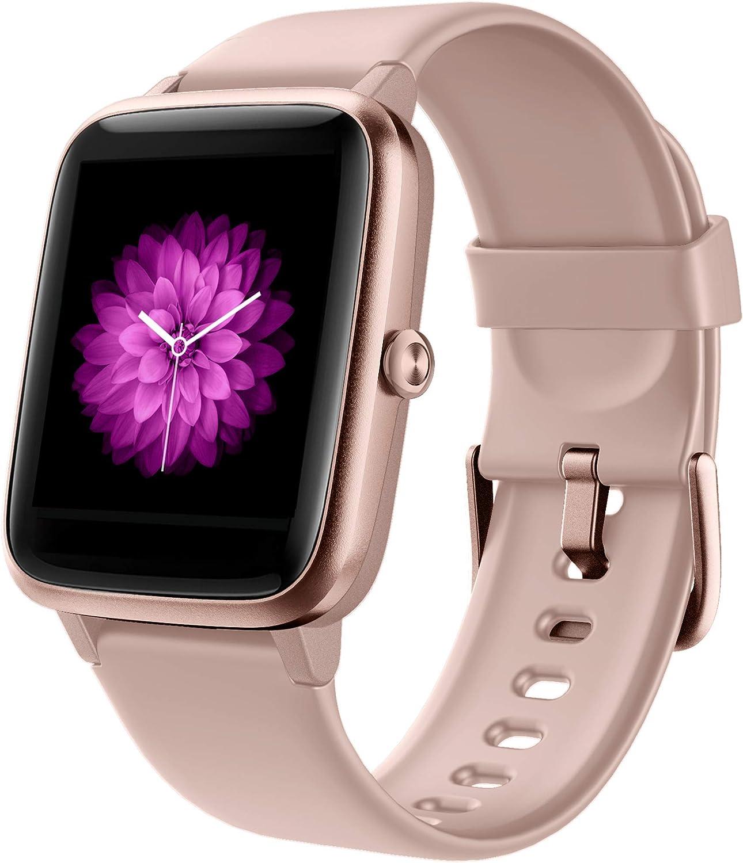 GRDE Reloj Inteligente, Smartwatch Mujer Niños Deportivo 5ATM Impermeable Pulsera Actividad con (Pulsómetro Cardíaco y Sueño) Reloj fitness con Cronómetro y Despertador para Huawei Samsung Xiaomi-Rosa