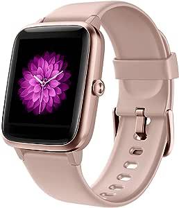 GRDE Reloj Inteligente Mujer, Smartwatch Hombre con Monitoreo del (Pulsómetro/Cardíaco/Sueño) Reloj 5ATM Impermeable con Podómetro Caloría GPS, Relojes con Despertador y Cronómetro para iPhone Xiaomi