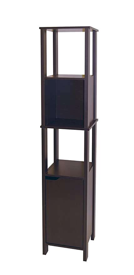 Neu Home Tall Slim Bathroom Storage Cabinet Tower Dark Espresso