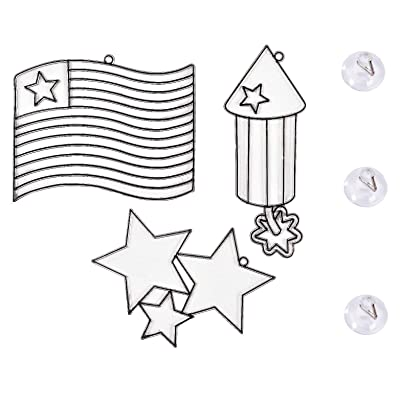 Patriotic Suncatchers Shapes with Clear Suction Cups for Hanging on Windows - 4-Inch - Set Three (3) - Ready to Decorate - Includes American Flag, Stars, & Firework - Bundle of 6: Toys & Games