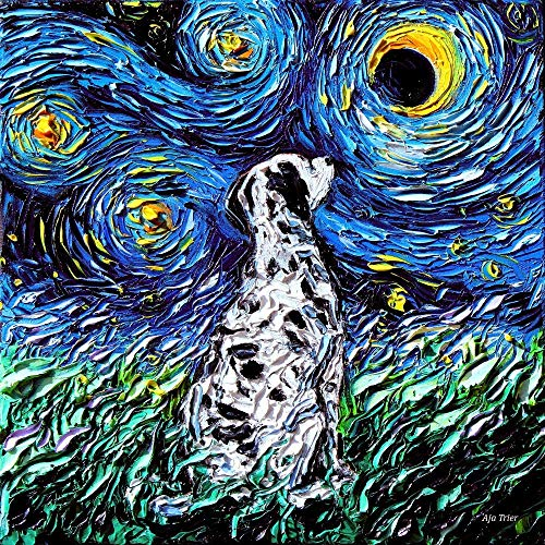 - Starry Night Dalmatian dog lover Art by Aja choose size and type of paper