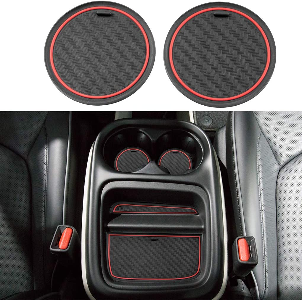 JIECHEN Non-Slip Anti-dust Custom Fit Cup Holder Liner Accessories for 2019 2020 Chrysler Pacifica Minivan 4-pc Set Carbon Fiber Pattern - red