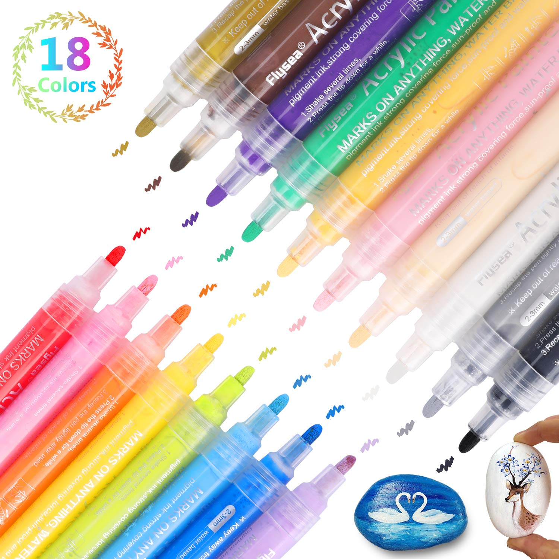 DIY Craft Projects Metal Acrylic Paint Marker Pens RATEL 18 Colors Premium Waterproof Permanent Paint Art Marker Pen Set for Rock Painting Easter Egg Mug Wood Ceramic Canvas Glass