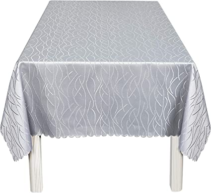 Jamie's Arts Rectangular Dinning Table Cover Easy Care Tablecloth Water-Proof/Wrinkle-Proof/Spill-Proof Tabletop (Silver, 60 x 84 Inch)