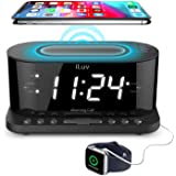 "iLuv Morning Call 5 Qi-Certified Wireless Charging Bedside Digital Alarm Clock, 1.2"" Jumbo LED Dual Alarm, FM Radio with…"