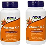 NOW Foods Vitamin K-2,100mcg, 100 Vcaps 2 Pack