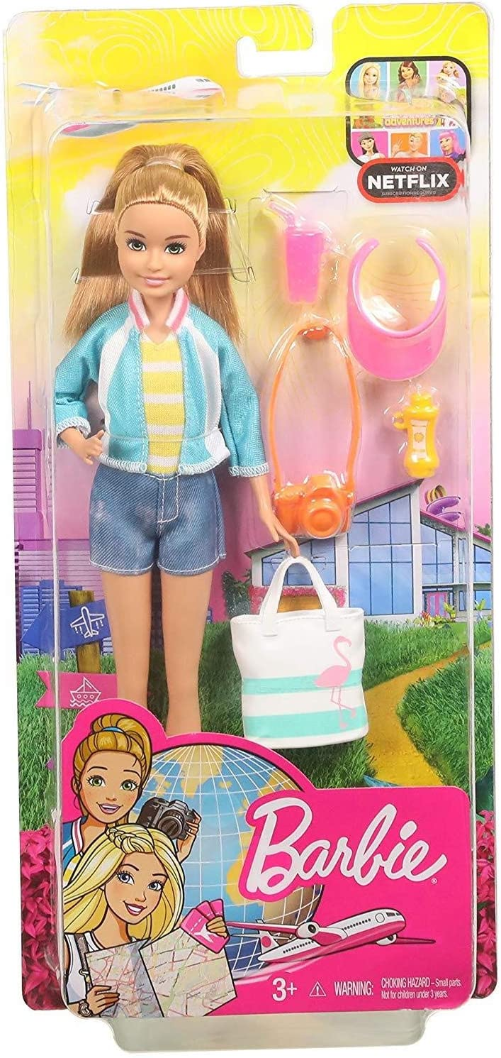 Barbie Travel Stacie Doll, Blonde, with 5 Accessories Including A Camera and Backpack, for 3 to 7 Year Olds