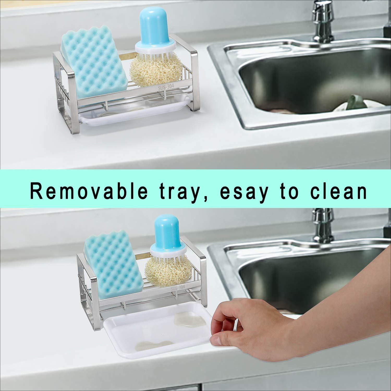 HULISEN Kitchen Sink Organizer Sponge Holder Brush Soap Holder with Removable Tray Sink Tray Drainer Rack Sink Caddy