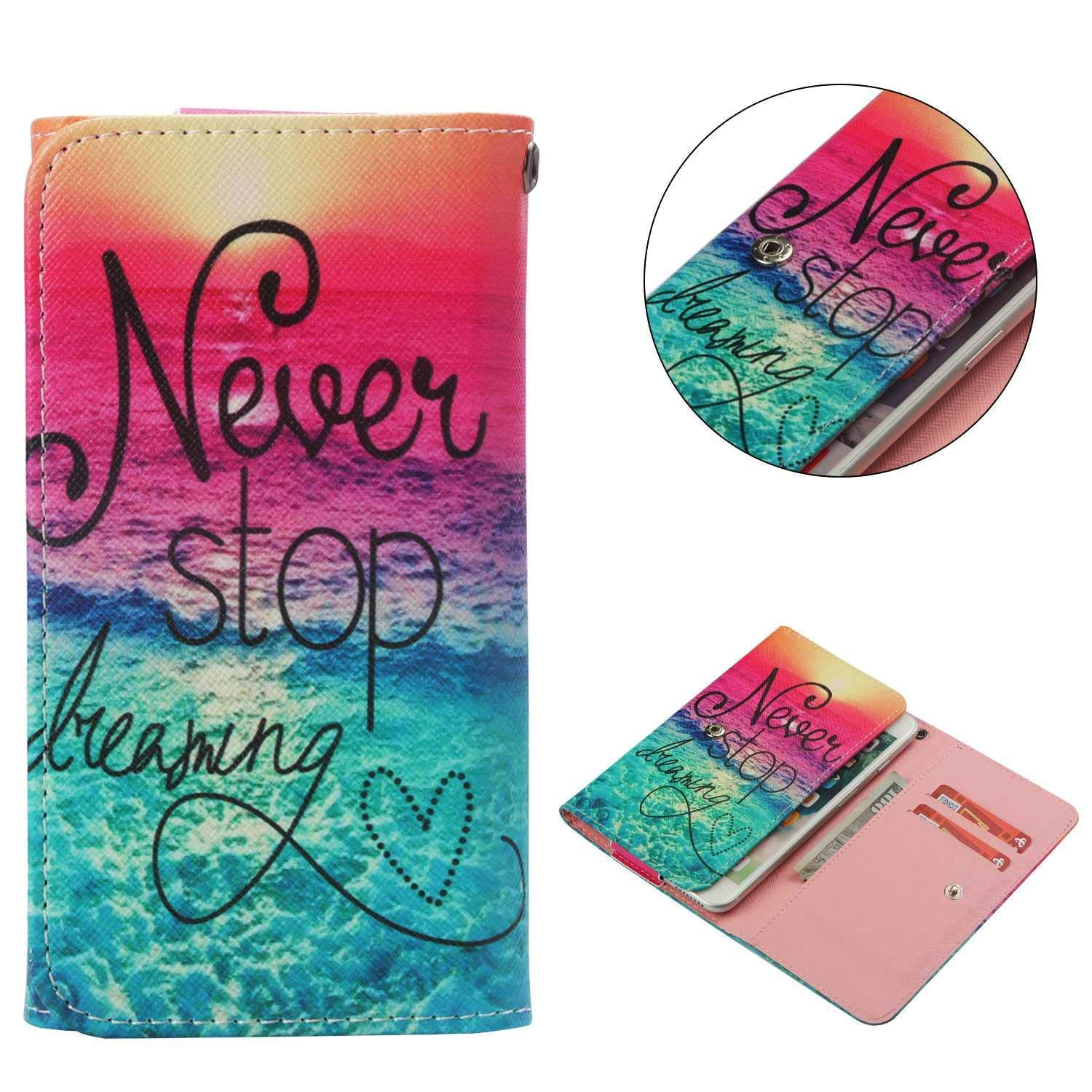 "Cell Phone Flip Case for Blu Dash X LTE D0010UU 5"" and More, Tenplus Universal Folio Case Cover PU Leather Skin Protective Wallet Clutch Bag with Card Slots (Never Stop Dreaming)"
