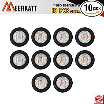 Special Generation 3//4 inch Round Clear Lens Green LED Clearance SMD Lamps Side Marker Indicators Light Truck Boat Pickup Camper RV Trailer 2-Wire pigtail 12V DC Waterproof XT-DC Pack of 20 Meerkatt
