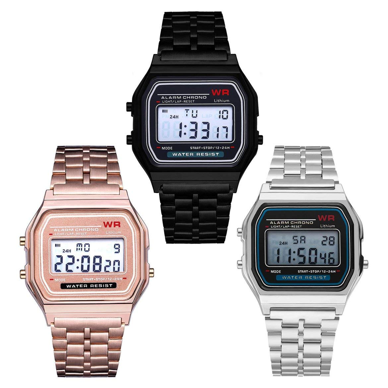 Reloj de pulsera de reloj de alarma de acero inoxidable de ...
