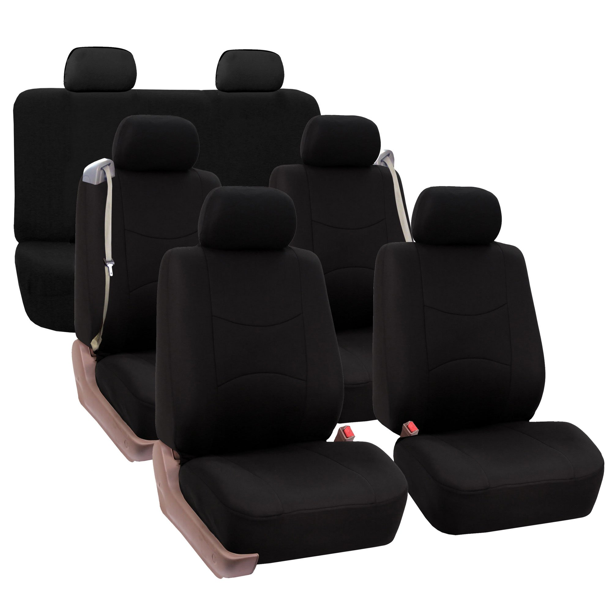 FH GROUP FH-FB351217 Three Row Full Set - All Purpose Flat Cloth Built-In Seat Belt Car Seat Cover , Solid Black - Fit Most Truck, Suv, or Van