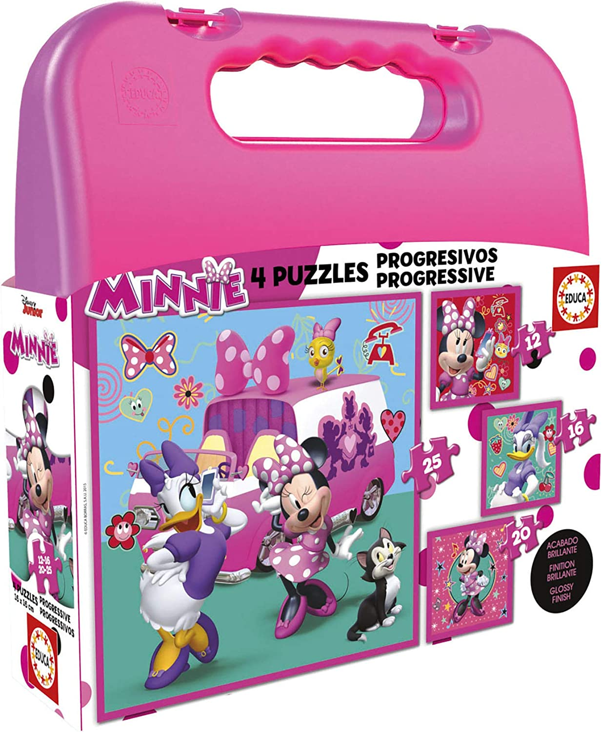 Educa Mickey and The Roadster Racers Maleta Puzzles Progresivos, multicolor, 16 Piezas (17638)