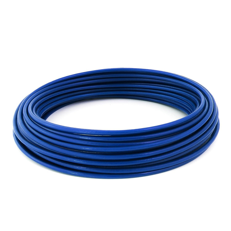 25m PVC cable acier 6mm bleu couleur 1x19 gaine